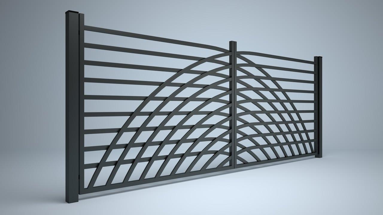 Wizualizacja 3D ogrodzenia w stylu katalogowym